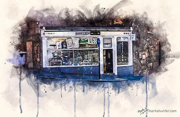 Souvenirs upon Tyne, 6 Dean Street Watercolour by Mark A Hunter