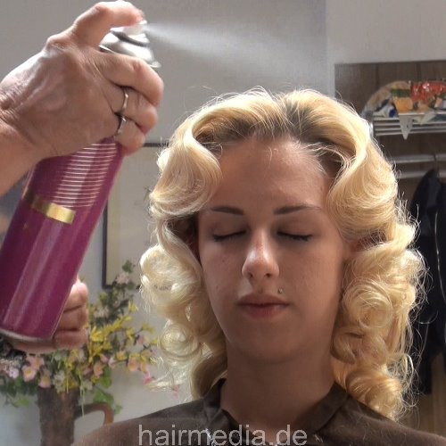 blonde teen first salon visit for shampoo and wetset