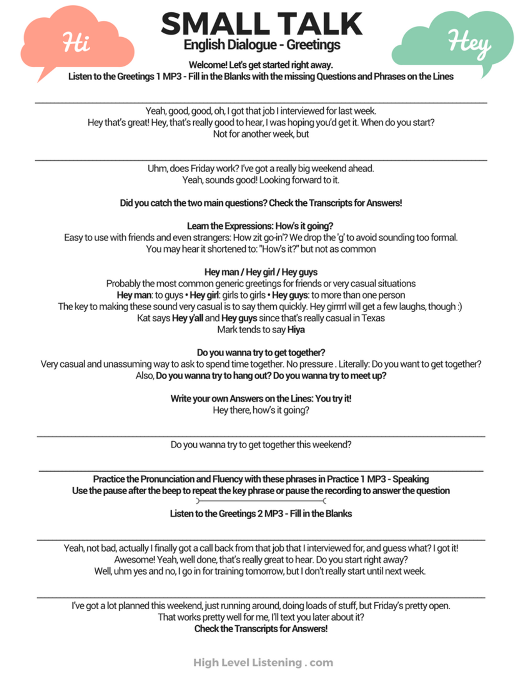 Small talk introducing yourself in english naturally and small talk greetings freebie worksheets and audio m4hsunfo