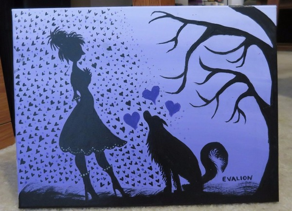 Painting: Violet Sunrise, Traditional Lady with her pet Wolf