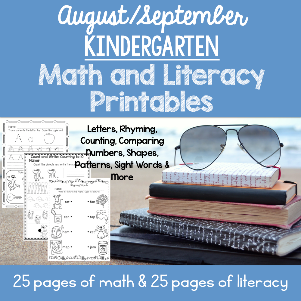 August / September Kindergarten Math and Literacy Printables ...