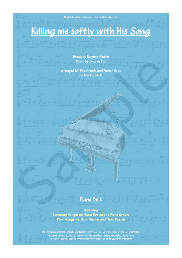 Killing me softly with his Song arranged for Clarinet and Piano/Band -  Martin Stolz Shop