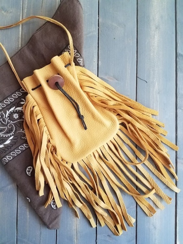 Medicine Bag | handmade upcycled elk hide