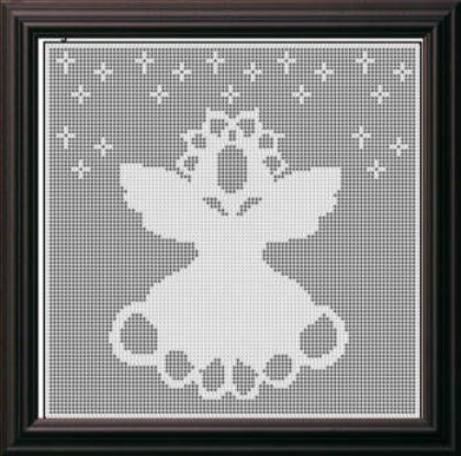 Filet Crochet Pattern Angel Christmas Afghan Picture