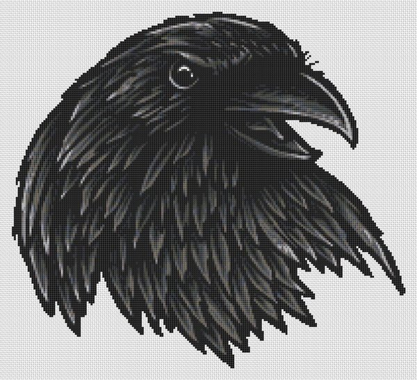 Raven Portrait Cross Stitch Pattern
