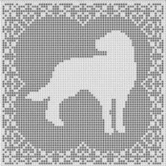Labrador Retriever Dog FILET CROCHET PATTERN Picture