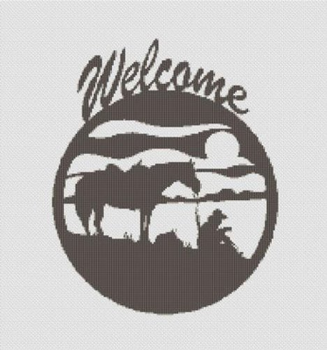 Cowboy Horse Welcome Cross Stitch Pattern Silhouette