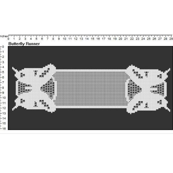 Butterfly Runner Doily Filet Crochet Pattern