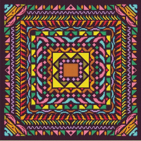 Colorful Mosaic Mandala Cross Stitch Pattern 004