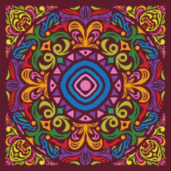 Colorful Mosaic Mandala Cross Stitch Pattern 003