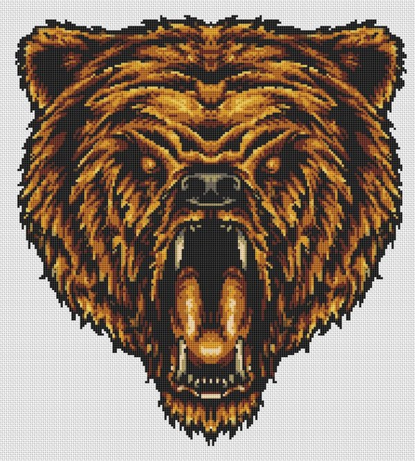 Snarling Bear Head Cross Stitch Pattern