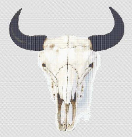 Bison Buffalo Skull Cross Stitch Pattern Western