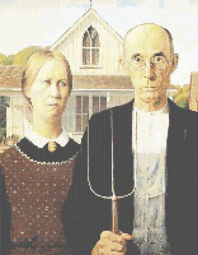 American Gothic by Grant Wood Cross Stitch Pattern