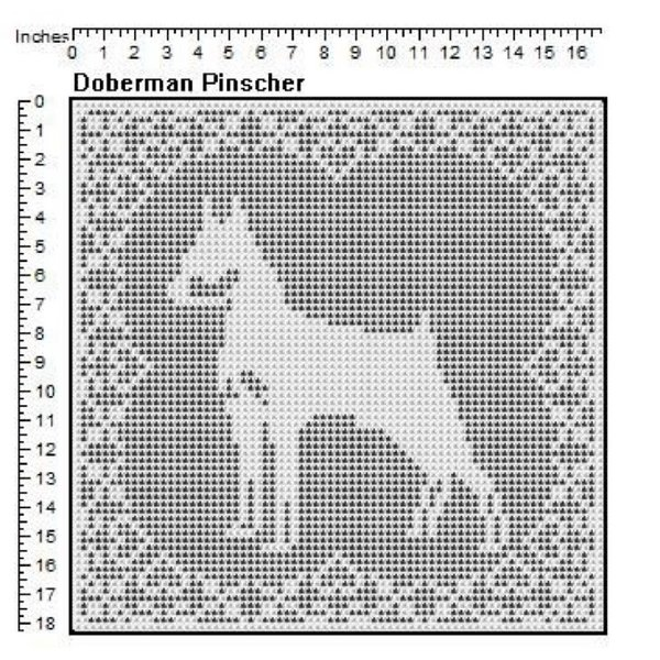 Doberman Dog Filet Crochet Pattern Doily Afghan Picture