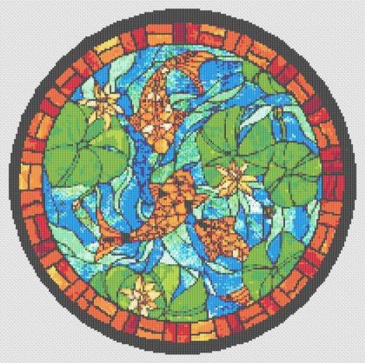 Koi Fish Stained Glass Cross Stitch Pattern Round