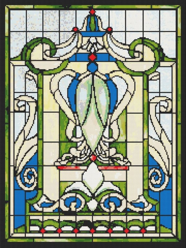 Stained Glass Victorian Cross Stitch Pattern