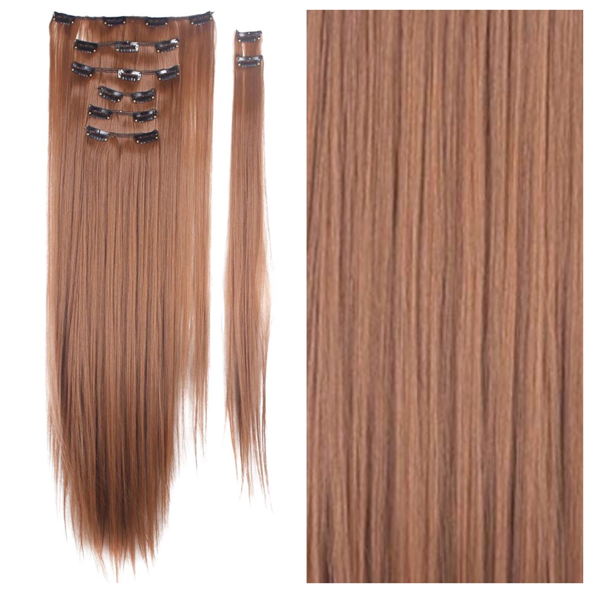 Light Auburn Hair Extensions 26 Clip In Remy Human Hair 200g Red