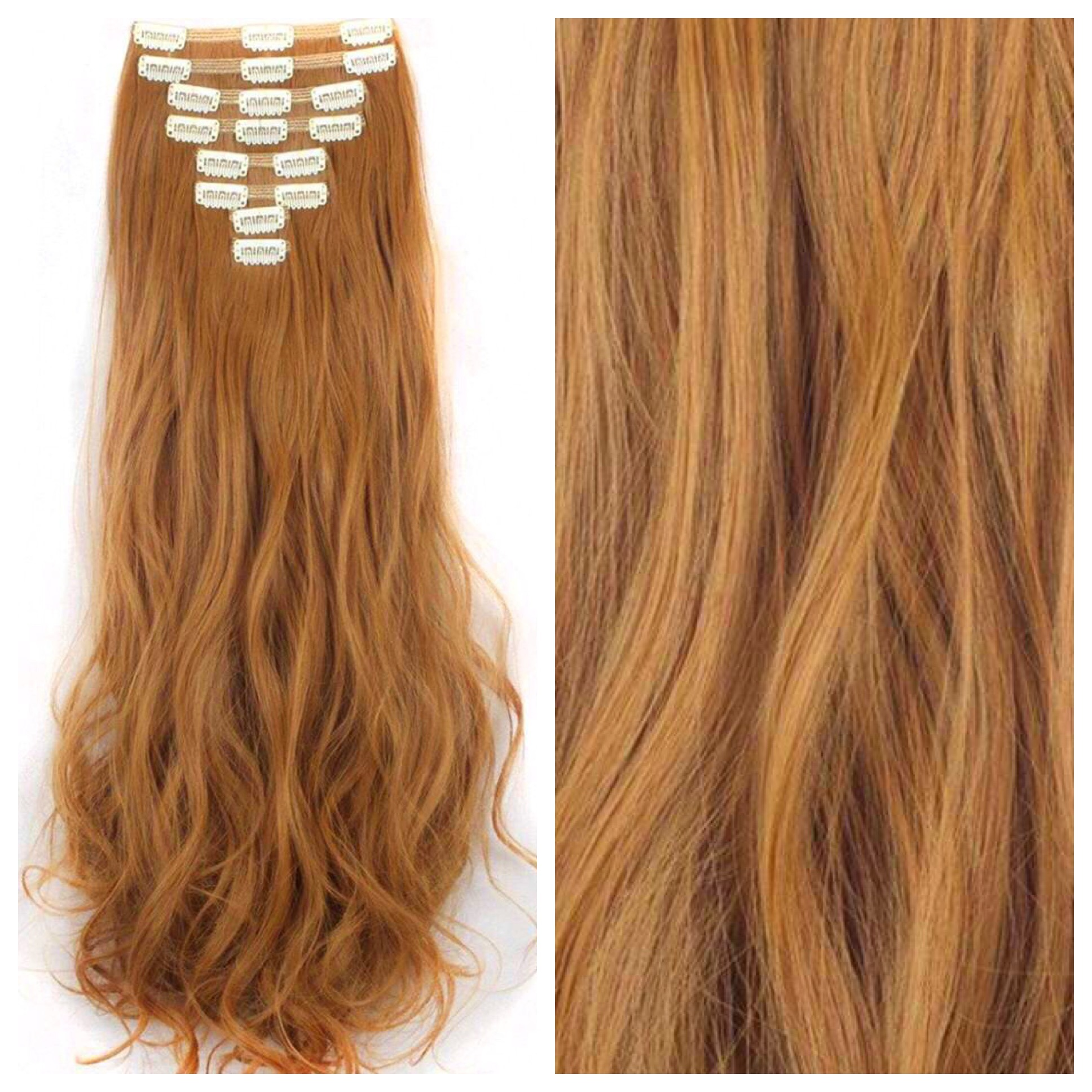 Ginger Brown Hair Extensions 24 Copper Clip In Remy Human Hair