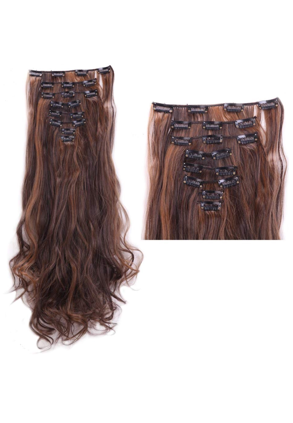 Dark Brown With Light Brown Highlights Hair Extensions 24 Wavy