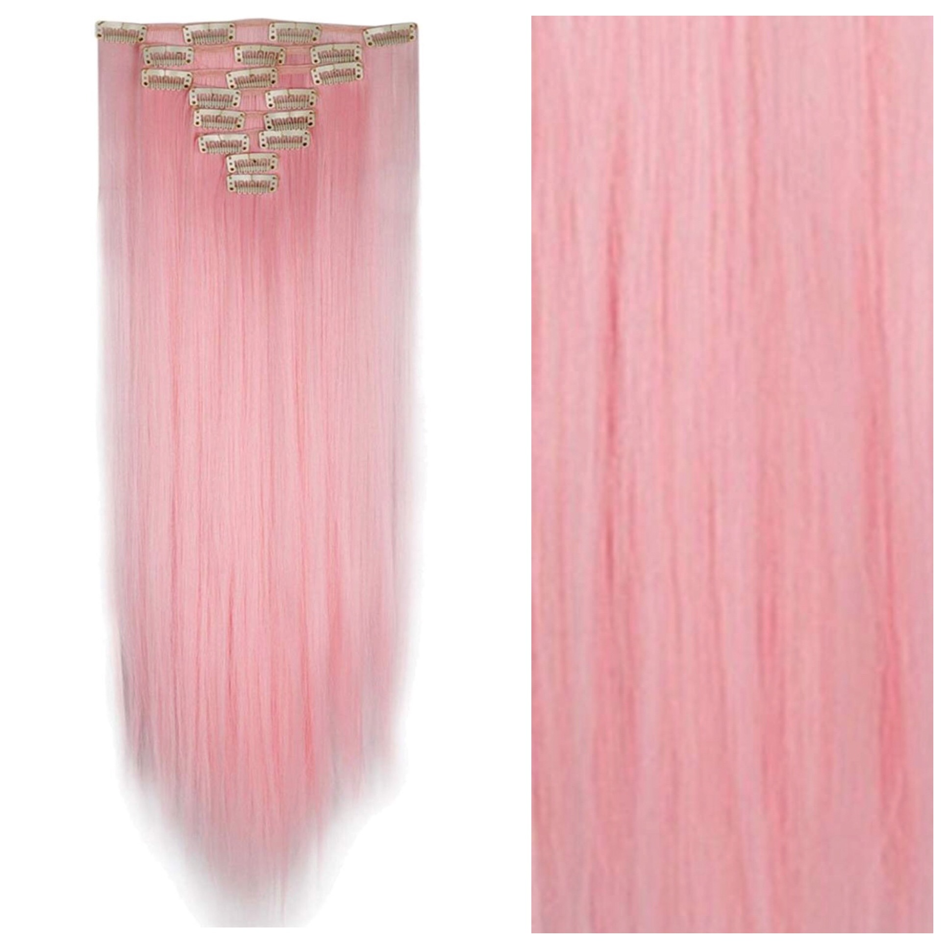 Pink Clip In Hair Extensions 26 Double Weft 200g Pastel Baby Pink