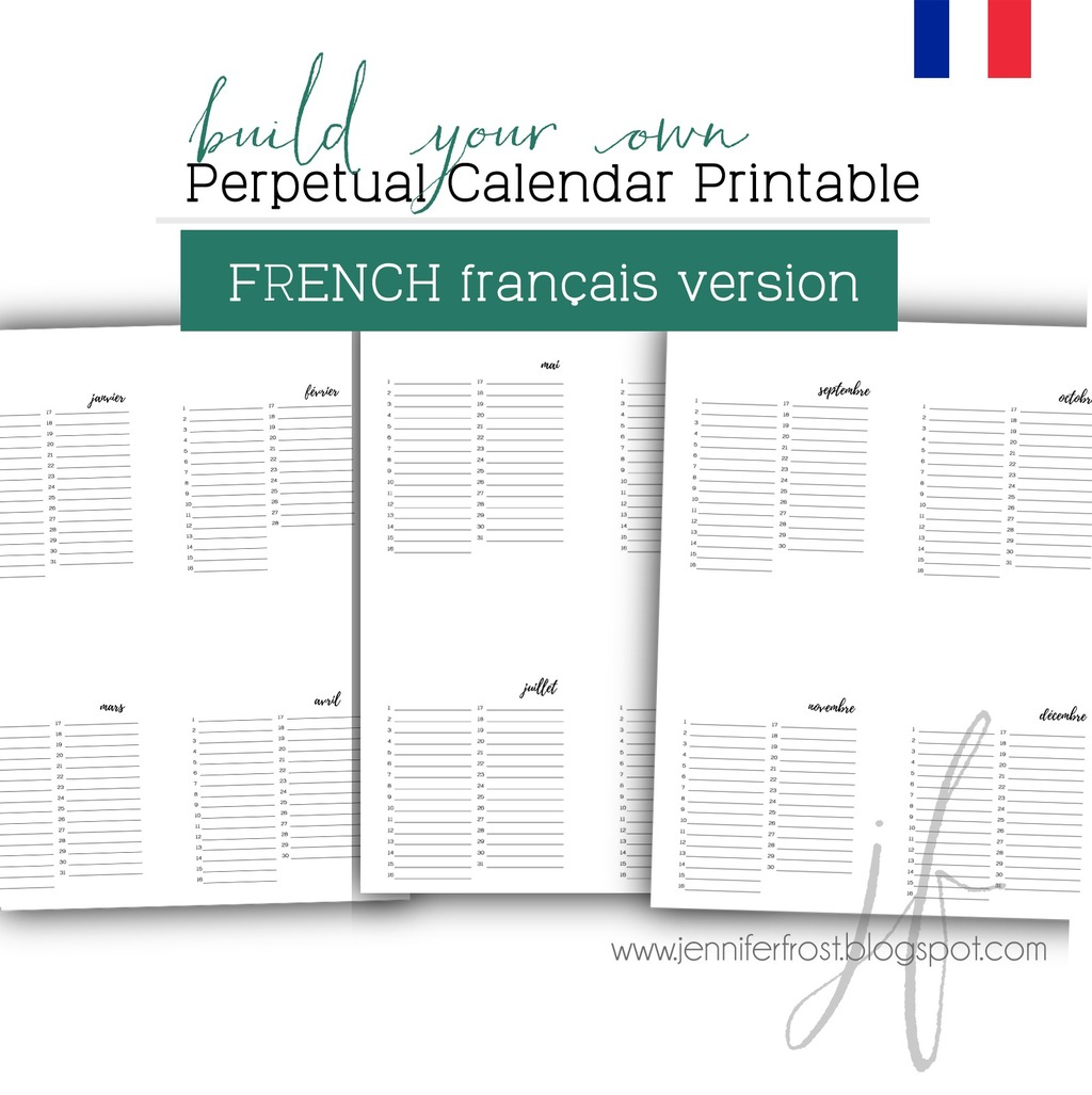 photograph relating to Perpetual Calendar Printable identify Perpetual Calendar Printable - French Variation - Printables for Papercrafters