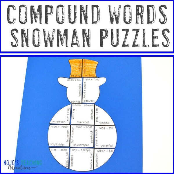 COMPOUND WORDS Snowman Puzzles for 3rd, 4th, or 5th Grade