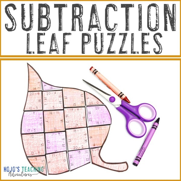 SUBTRACTION Leaf Puzzles for 1st, 2nd, or 3rd Grade Kids