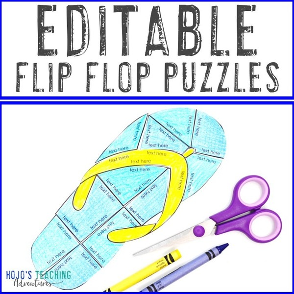EDITABLE Flip Flop Puzzle for Elementary or Middle School