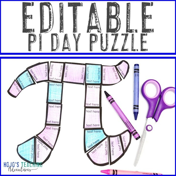 EDITABLE Pi Day Puzzle for Elementary or Middle School