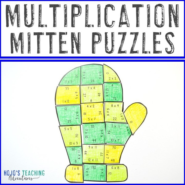 MULTIPLICATION Mitten Puzzles for 3rd, 4th, or 5th Grade
