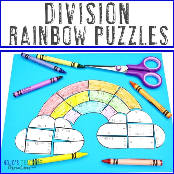 DIVISION Rainbow Puzzles for 3rd, 4th, or 5th Grade
