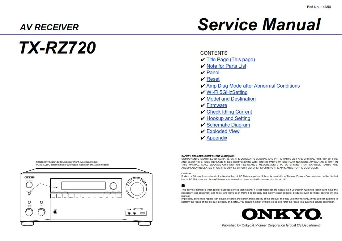 Onkyo TX RZ720 AV Receiver Service Manual and Technicians Guide - ANY  Service Manual