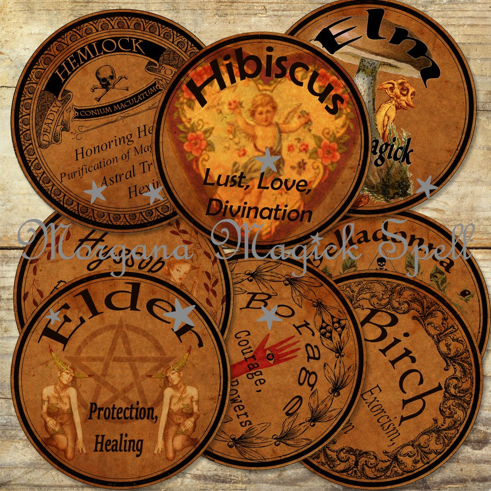 36 WITCHCRAFT APOTHECARY LABELS # 2 - Herbs and their Magickal Uses -  Morgana Magick Spell