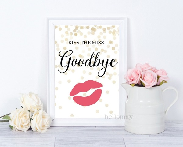 photo about Kiss the Miss Goodbye Printable identify Weddings - Howdy Might