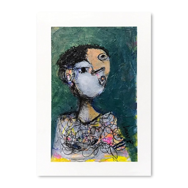 Original Small Abstract Portrait With Mat