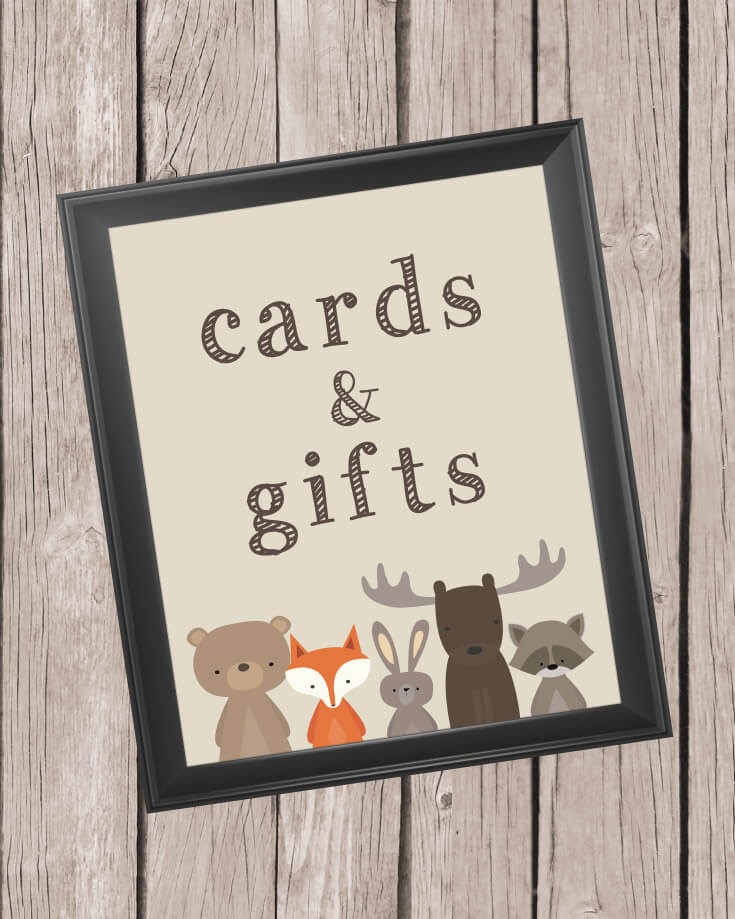 Printable Cards And Gifts Sign 8x10 Quot Woodland Animals