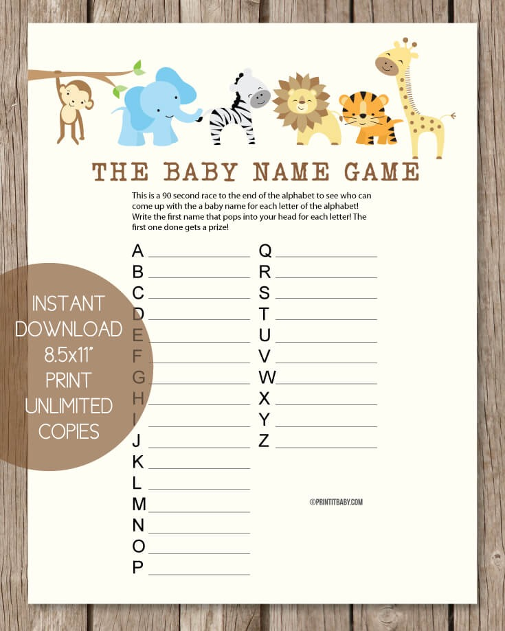 Printable Baby Shower Name Game - Baby Shower Names A to Z ...