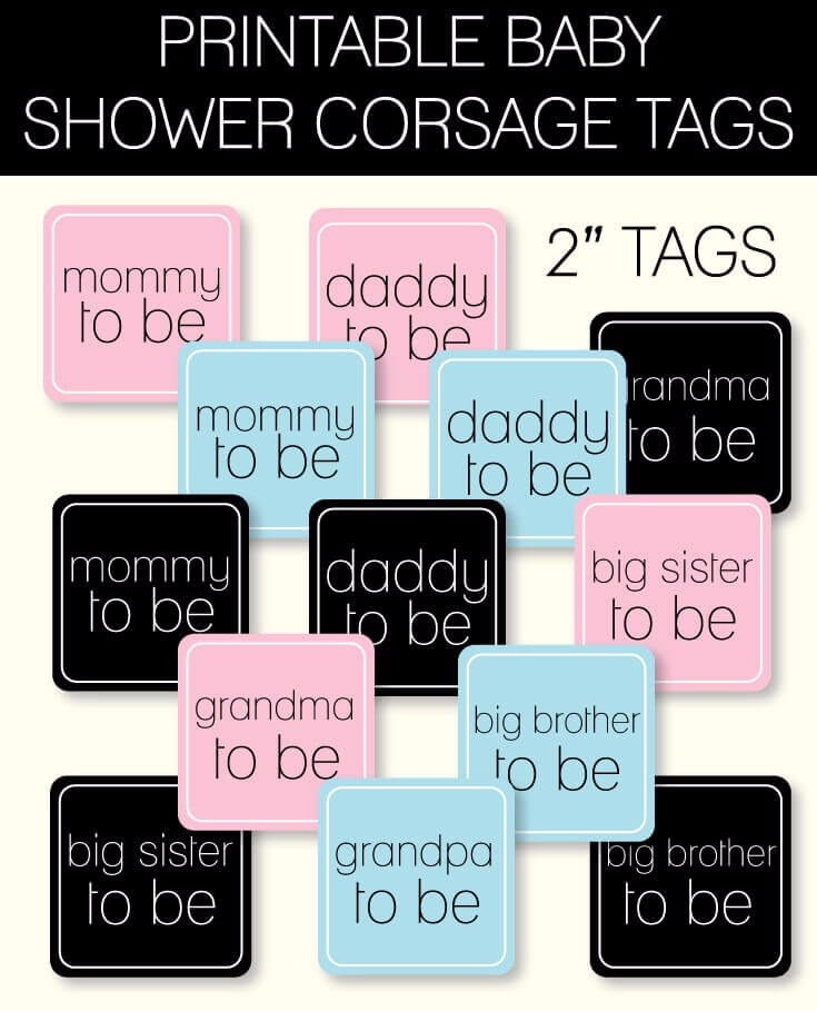 Printable Baby Shower Corsage Tags Printitbaby Print It Baby