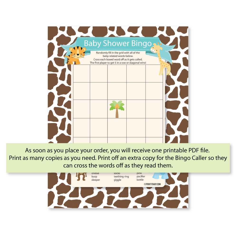 Printable Baby Shower Bingo Game   Jungle Theme