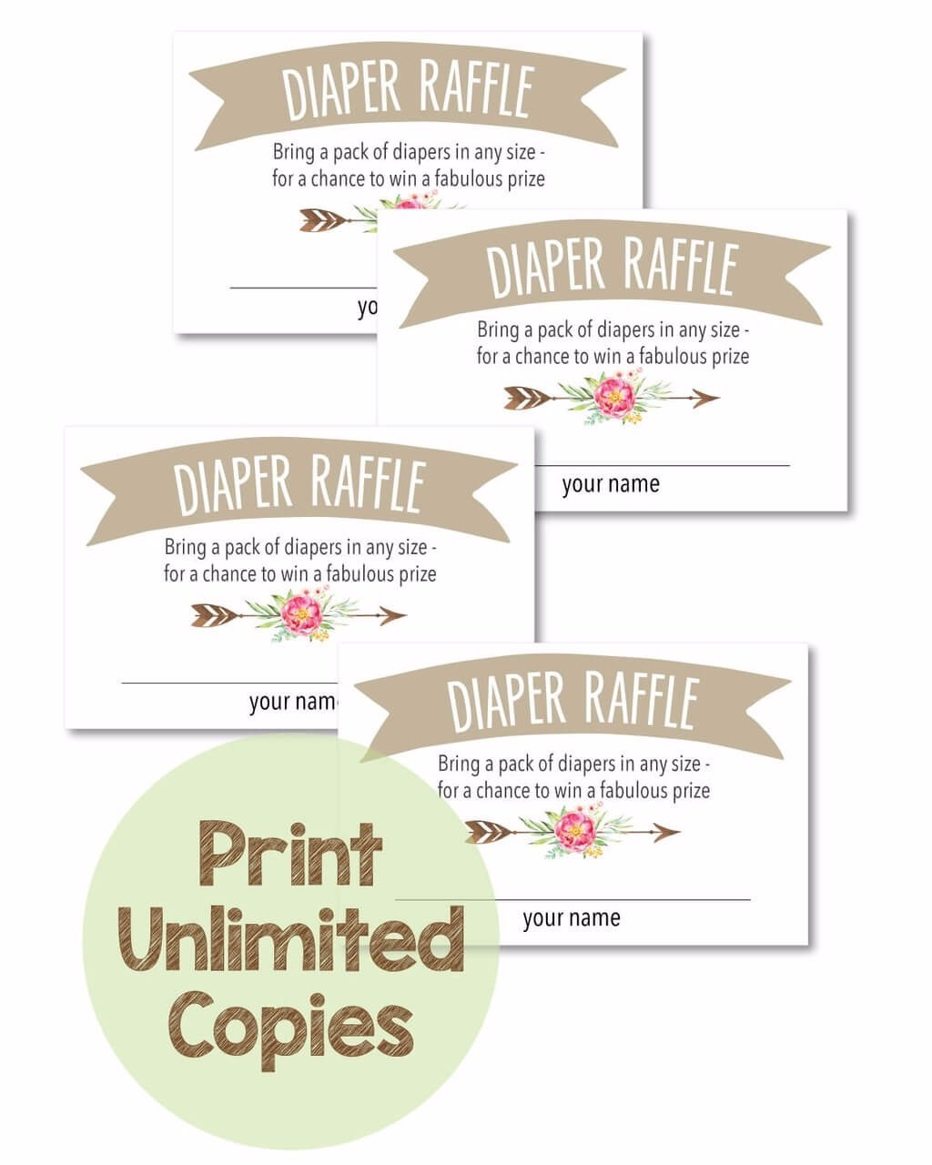 This is a picture of Inventive Diaper Raffle Free Printable