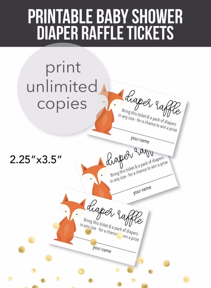 Printable Woodland Fox Diaper Raffle Tickets Print It Baby