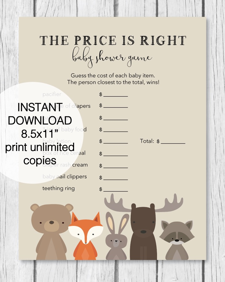 The Price Is Right Baby Shower Game   Woodland Theme   PrintItBaby.com    Print It Baby