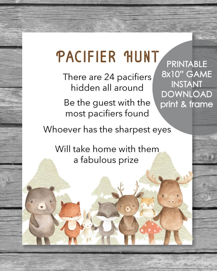 Printable Pacifier Hunt Game Sign Woodland Animals