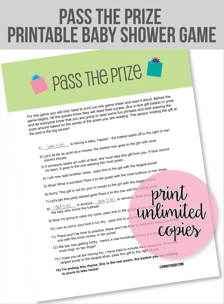 image relating to Baby Shower Pass the Prize Rhyme Printable known as Child Shower Match Poem P The Reward - Reward Guidelines