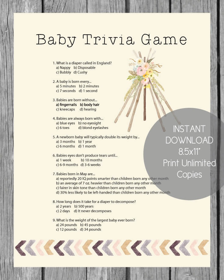 Printable Baby Shower Trivia Game Boho Tribal Theme Print It Baby