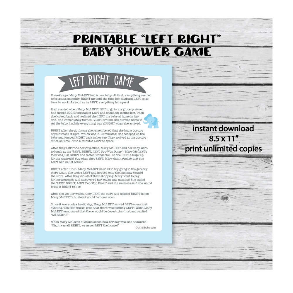Printable Left Right Baby Shower Game Blue Elephant Jungle
