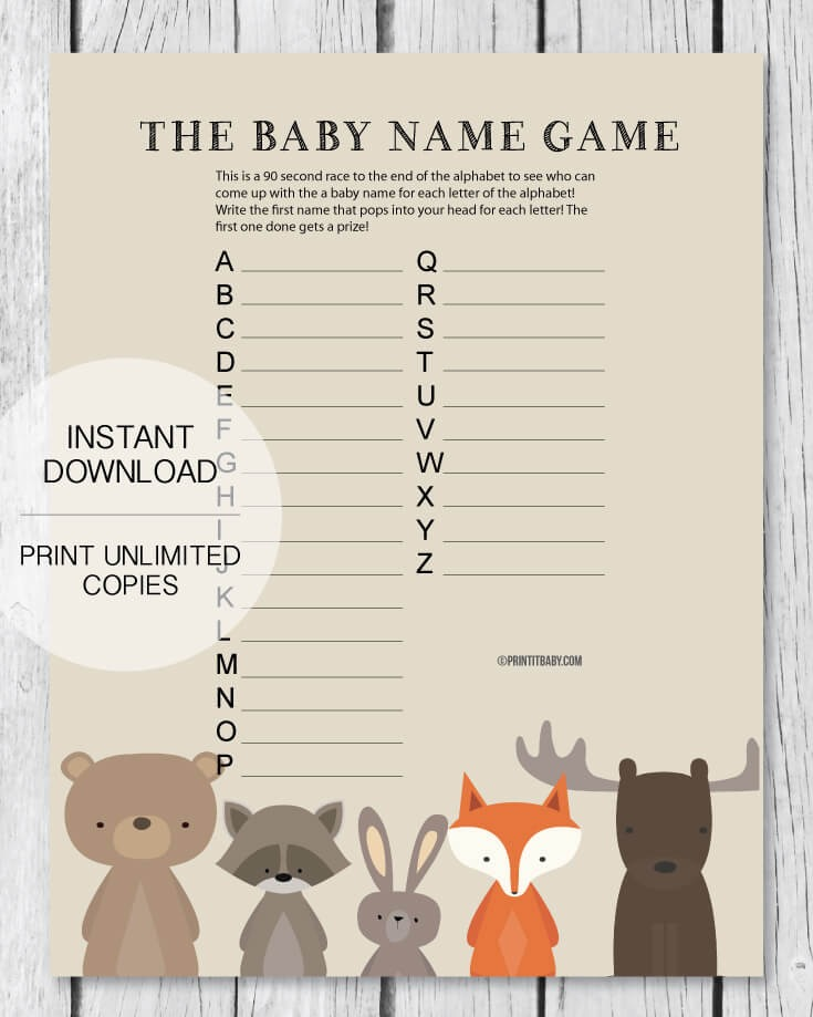 Printable Baby Shower Name Game Baby Shower Names A To Z