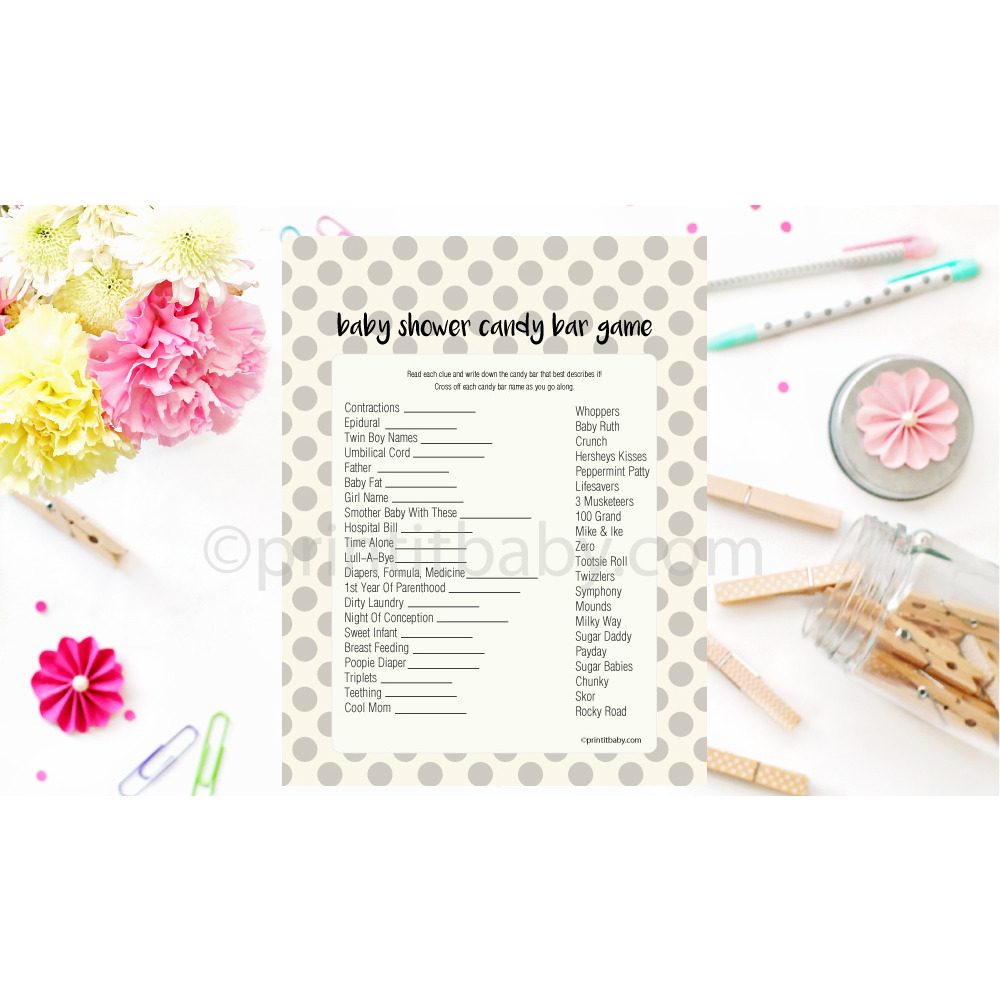 Candy Baby Shower Game: Printable Gray Polka Dot Baby Shower Candy Bar Game