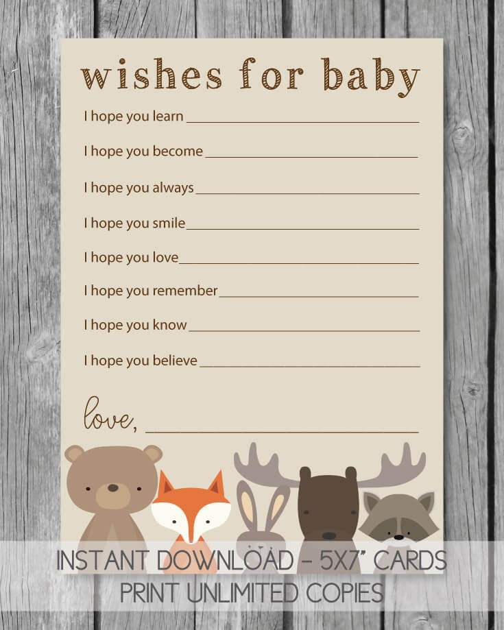 printable woodland well wishes for baby cards