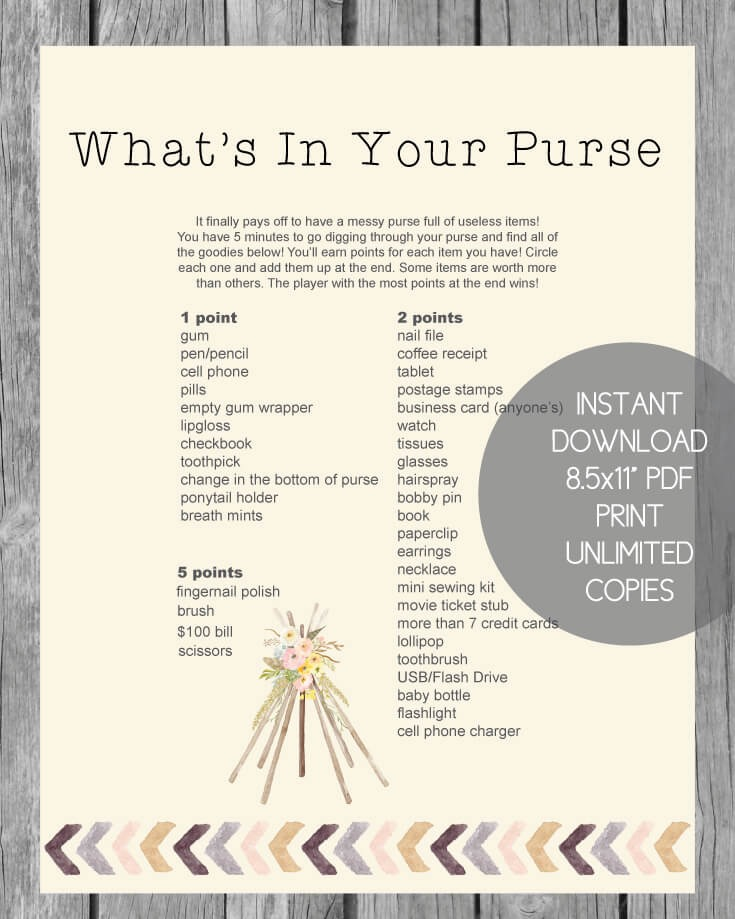 Luscious image throughout what's in your purse printable